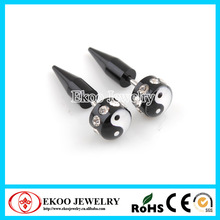 Black Acrylic Yin Yang Fake Ear Taper with Multi CZ Fake Plug