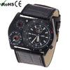 Case 3 Dials japan movt cool watches men genuine leather quartz watch