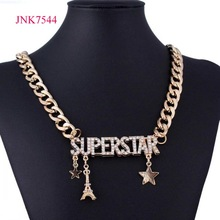 fashion gold chain rhinestone superstar pendant necklace