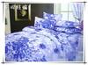 Aqua blue print flannel bedding set