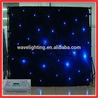 WLK-1B Black fireproof Velvet cloth Blue leds star backdrop curtain theatre light stage