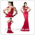Hot vente sirène, applique à manches longues en dentelle robe de soirée