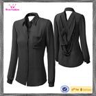 Latest Design Women's Black Chiffon Long Sleeve Blouse