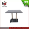 2014 new design glass with stainless steel pipe dining table