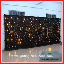 WLK-1Y Black fireproof Velvet cloth Yellow leds star curtain backdrop china dj equipment professional