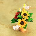 """1"""" em miniatura de barro artesanal dollhouse sol flor em vaso decorativo colecionáveis"""
