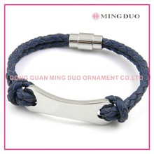 custom weave leather bracelet with stainless steel magnetic clasp