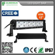 "hot !!! 12"" 60W led light bar IP68 single row 4WD atv LED Lightbar 12 volt led light bar SRLB60-C4"