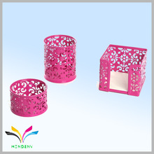 Pink hot sale embossing colored innovative metal fancy office stationery list