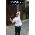 2014 100% moda casual blusa de linho para o modelo de blusa de uniforme