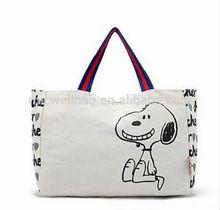 NEW Peanuts SNOOPY Woodstock Canvas Shopping Bag Handbag Washable