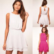 Women Summer Holiday Casual Chiffon short white sundress