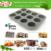 FDA Standard Food Grade silicone candy tops cupcake tray pans with 12 Hole