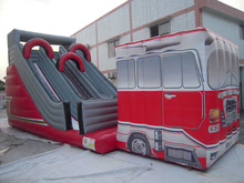 Hot selling!!! Commercial inflatable fire truck slide for sale