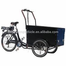 black three wheeler cargo tricycle