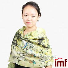 Cheap Promotion Twill Woven Bird Printed Blending Wool Cotton Bamboo Scarf Wholesalers