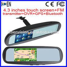 FM Transmitter 4.3 Inch Touch Screen DVR GPS Bluetooth Smart Car Mirror