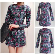 Fashion Women Mini Dress Women's Colorful Print Painting Geometric Pattern Zipper Back Clubwear Long Sleeve Slim Dress G0355