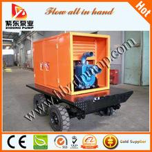 Diesel mobile self-priming sewage pump with four tyres