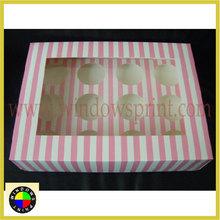 Custom design Striped Cupcake Packaging Box
