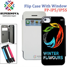 Custom Flip Leather Mobile Phone Cover with Open Window for iPhone 5 5S