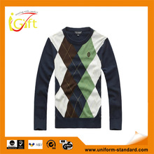 2014 hot sell wholesale high quality fashionable checked pullover Sweater