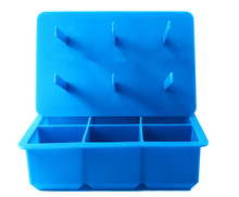 2014 New Design King Size Silicone Square Ice Cube Tray with Lid and Popsicle Sticks