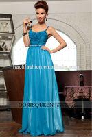 DORISQUEEN Wholesale new arrival floor A-line Spaghetti Strap blue plus size Sexy blue long prom dress