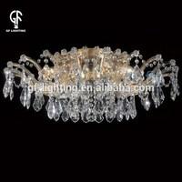 Elegant crystal stamen retractable ceiling light fixtures