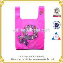 2014 environmental protection material reusable pink printing shopping bags