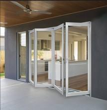 White color aluminium double glazed bi-folding door with 4 panels design