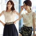 coreano 2014 blusa de gasa manga corta para mujer elegante en blusas 20209 cordón