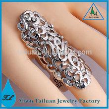Wholesale Fashion Rhinestone Hollow Flower Knuckle Ring