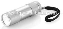 9 LED aluminium flashlight torch/mini hand torch/flash light with 0,0% mercury & cadmium battery