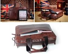 Fashion Business Men Shoulder Messenger 16 inch laptop bag leather man bag
