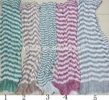 Fashion muffler shawl 100%polyester chiffon stripe scarf