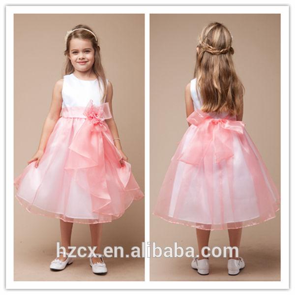 Branco e rosa curto sem mangas vestido de baile bowknot sash menina primeira comunhão vestido vestido da menina flor 2014 Rolanca CXHT0132
