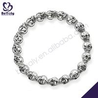 Smart engraved cheap 925 sterling silver bracelet skull