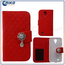 luxury Diamonds crystal flower leather slot wallet flip case for samsung galaxy s4