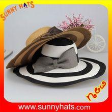 Women Summer Big Brim Beach Sun Hat with Bow Tie