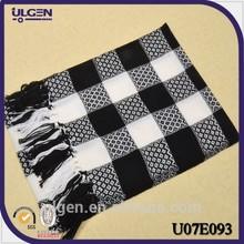 checked black zebra stripes wool scarf pashmina,big size cashmere scarf made in China