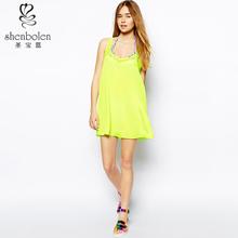 2015 nre style fashion casual women a-line dress lemon green mix beach dress China supplier OEM