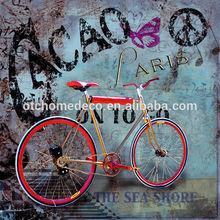 Handmade Printing Bike Canvas Oil Painting