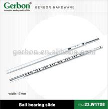 17mm mini single extension side mounted ball bearing drawer slide