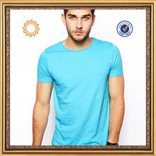 casual pretty high quality fitted mens t shirt plain blue t shirt