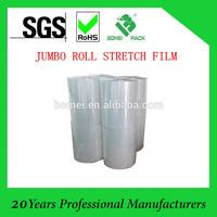 Transparent jumbo roll stretch film