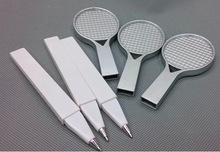hot sale plastic ball point pen with tennis rocket shape decorative ballpoint pen promotional ballpen