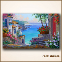 Beautiful impressionist painting beach