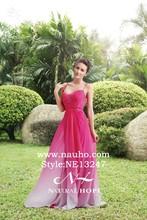 Sexy Spaghetti Strap sweetheart long chiffon evening dress 2015 evening dresses gradual change pink prom dresses