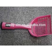 Durable pink color plastic pet pooper scooper with waste bag holder